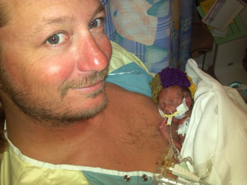 Daddy and Jax during their first Kangaroo Care