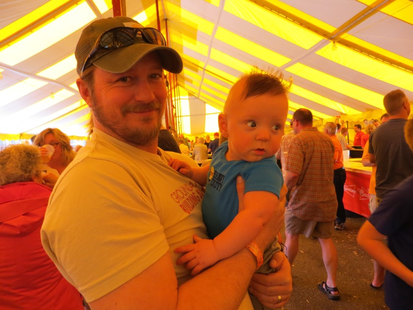 Jax checking out the scenery in the beer tent.