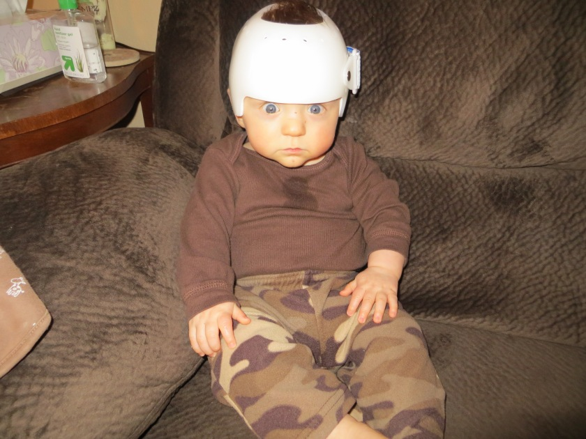 Jax in his new helmet. Cute, huh?