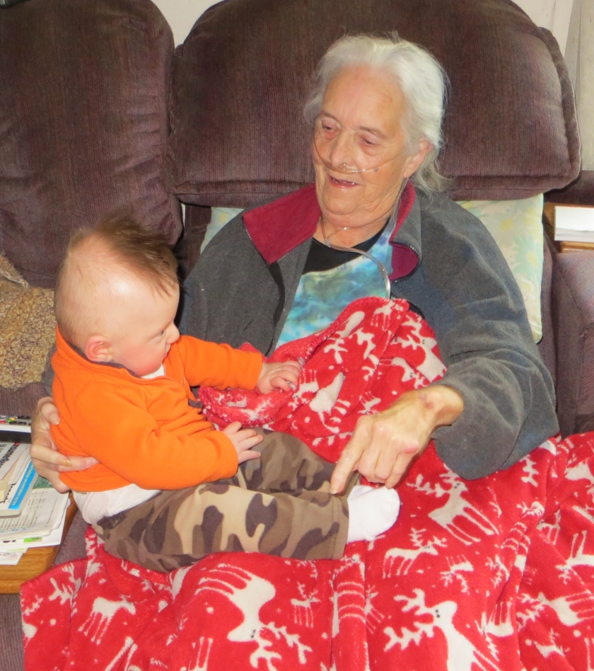 Jax playing with his Great Grandma