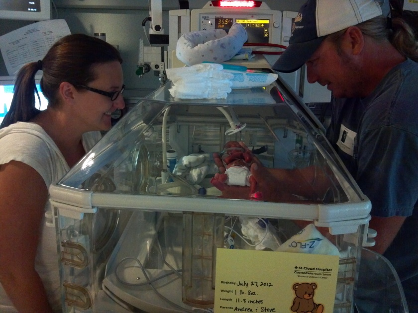 micro preemie born at 23 weeks in incubator