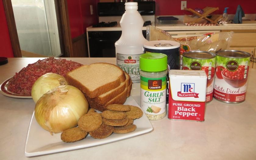 Ingredients for meatballs