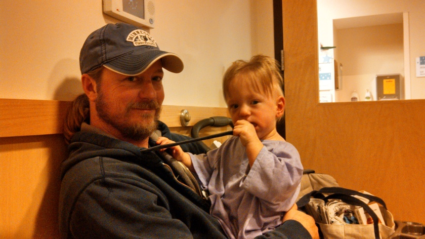 Daddy and Jax before surgery