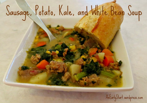 Sausage, Potato, Kale, and White Bean Soup from AnEarlyStart.Wordpress.com