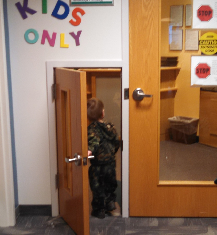Isn't this cute? They have a special door for the kids to walk through. Jax thought this was pretty sweet and waked in and out about 10 times. :)