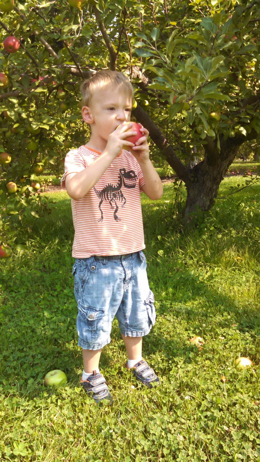 child taking bite of apple