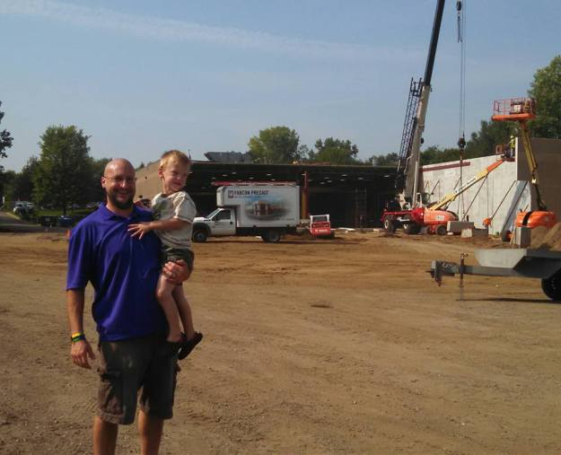 preschooler at construction site
